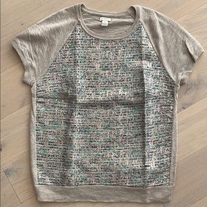 J Crew short sleeve sweater with detail